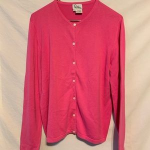 Lilly Pulitzer L pink cardigan sweater top 562a